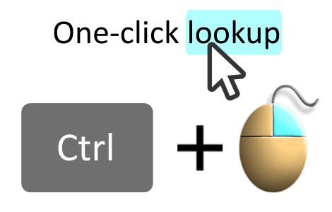 Look up using Ctrl+Right click on a word in almost any program