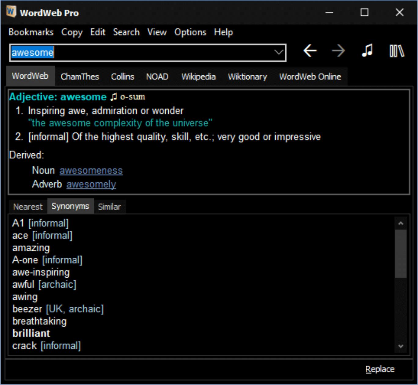 Main WordWeb window